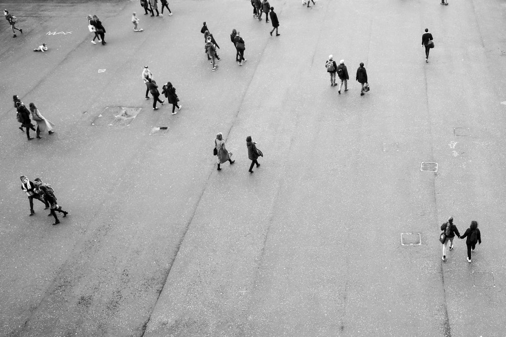 aerial photography of people on open area